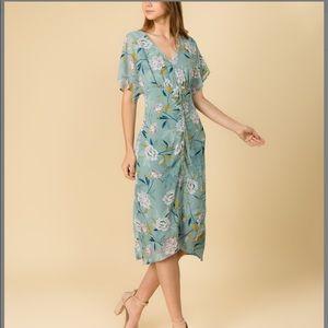 June & Hudson Teal Floral Midi Dress